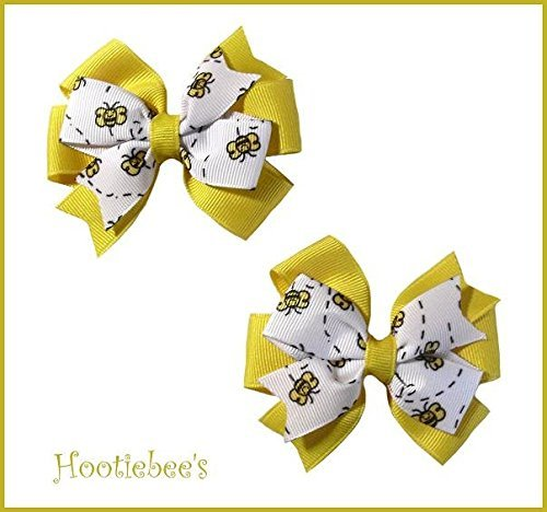 Dizzy Bees Toddler Hair Bow Set (Yellow or Black) - Bumble Bee Hair Bow