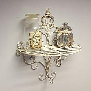 Wall Sconce Shelf Metal : Shabby Chic Vintage Style Sconce Wall Shelf Display Metal Rack Bathroom Kitchen: Amazon.co.uk ...