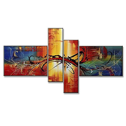 Hand Painted Split Canvas Paintings Unframed 4 Pieces - 56X32 inch (142X81 cm) for Living Room Bedroom Dining Room Wall Decor To DIY Frame Home Decoration - Lisbon Abstract by Neron Art (Dining Lisbon)