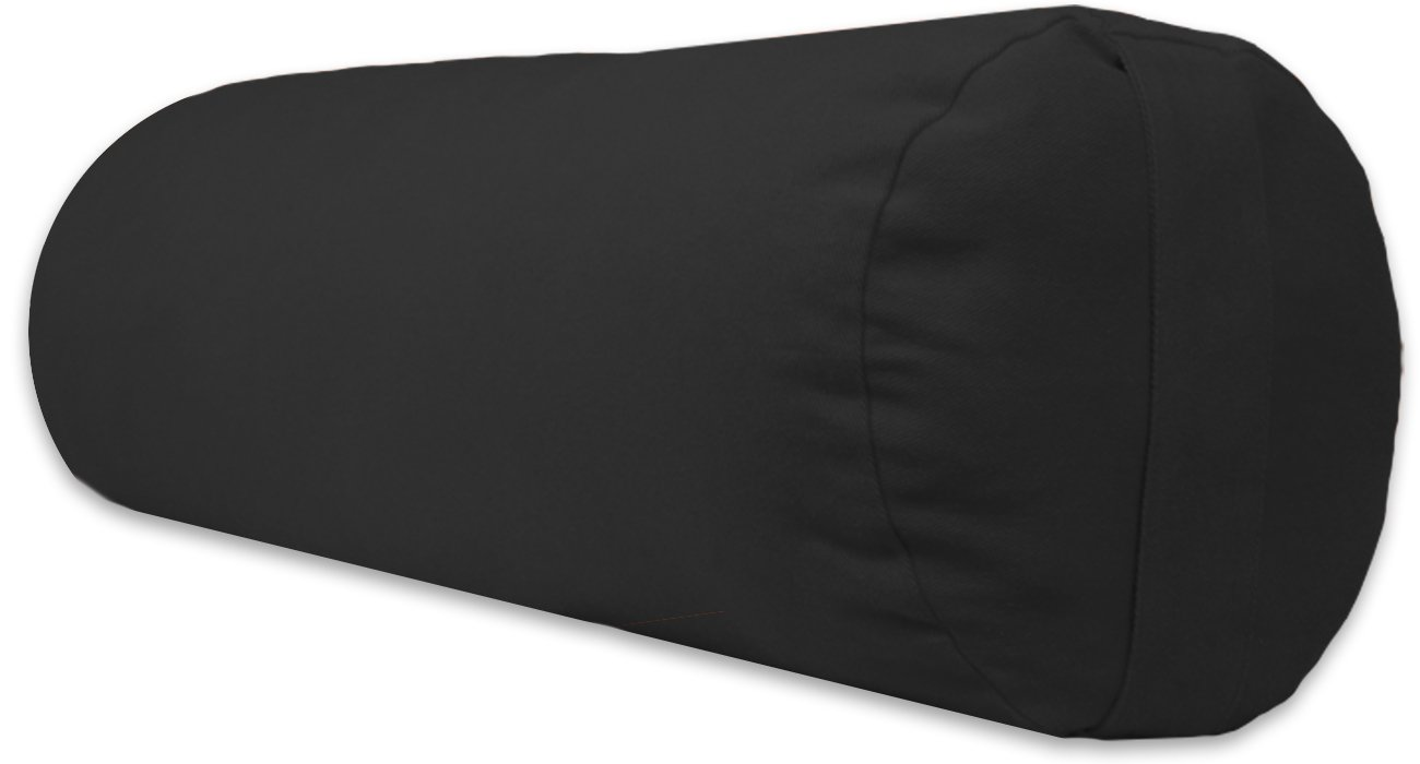 YogaAccessories Supportive Round Cotton Yoga Bolster - Black