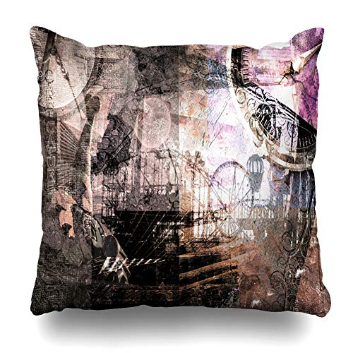 Ahawoso Throw Pillow Cover Mask Vintage Amusement Abstract Circus Clip Fantasy Carnival Clock Old Clown Antique Design Costume Home Decor Cushion Case Square Size 20