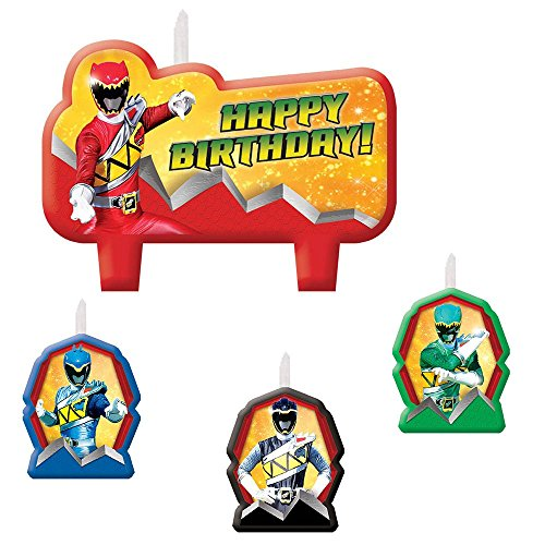 Amscan Power Rangers Dino Charge Birthday Party Molded Candle Set (4 Piece), (Power Rangers Birthday Cake)