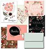 72 Thank You Cards - Thank You Potpourri - 6 Designs - Blank Cards - Gray Envelopes Included