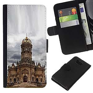 LECELL--Cuero de la tarjeta la carpeta del tirón Smartphone Slots Protección Holder For Samsung ALPHA G850 -- Edificio Antiguo --