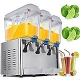 VEVOR Cold Beverage Dispenser 14.25 Gallon 380W Juice Beverage Dispenser Stainless Steel Fruit Juice Beverage Ice Tea Drink Dispenser (18L X 3Tanks)