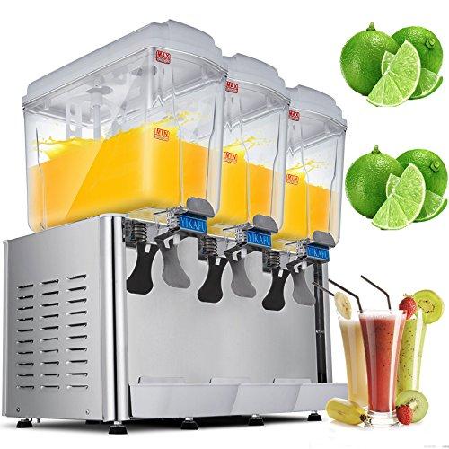 VEVOR Cold Beverage Dispenser 14.25 Gallon 380W Juice Beverage Dispenser Stainless Steel Fruit Juice Beverage Ice Tea Drink Dispenser (18L X 3Tanks) (Commercial Coffee Dispensers)
