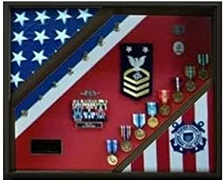 product image for 2 Flag Display Case, Coast Guard Gifts, USCG, Shadow Box, USCG Shadow Box, Coast Guard Cutter.