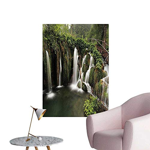 Vinyl Artwork Circled Waterfalls in Crotia with a Rustic Wood Cute Bridge Aside Green and Easy to Peel Easy to Stick,32