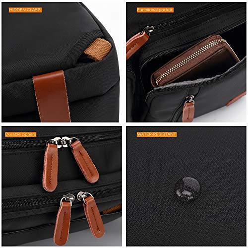 CoolBELL Convertible Backpack Messenger Bag Shoulder Bag Laptop Case Handbag Business Briefcase Multi-Functional Travel Rucksack Fits 15.6 Inch Laptop for Men/Women (Grey) by CoolBELL (Image #5)