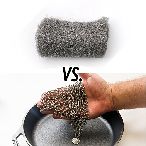 ScrubberPro Chainmail Scrubber Solution for Cleaning Cast Iron XLarge, Inch, from Stainless