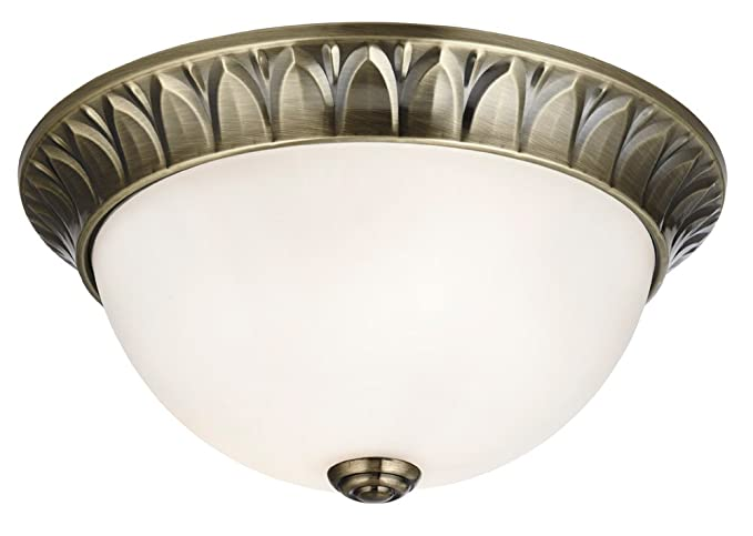 Traditional Antique Brass White Glass Small Flush Ceiling