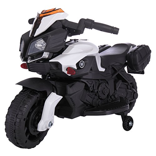 LAZYMOON 6V Kids Ride On Motorcycle Car Battery Powered 4 Wheel Bicycle Electric Toy, Black and White