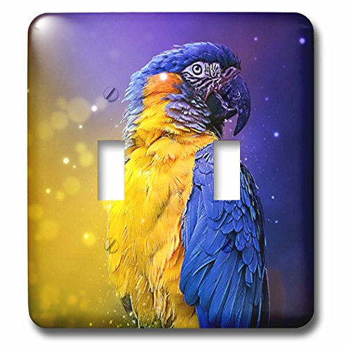 3dRose Sven Herkenrath Animal - Photograph Of A Colorful Parrot On Purple And Yellow Background - Light Switch Covers - double toggle switch (lsp_286409_2) by 3dRose