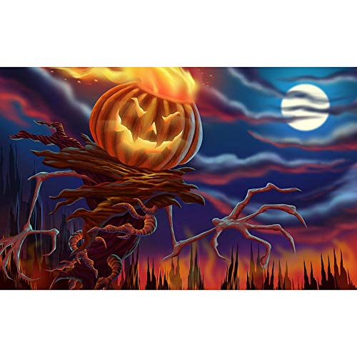 5D DIY Diamond Painting Paint by Numbers Kits for Adult, Halloween Cartoon Pumpkin Full Drill Diamond Embroidery Paintings Pictures Arts Craft for Home Decoration by SUNBIBE (E)]()