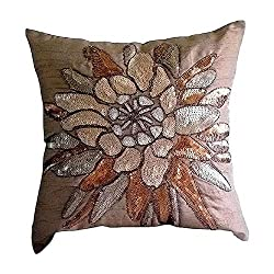 Sequins Embellished Brown Decorative Pillow Case Cover