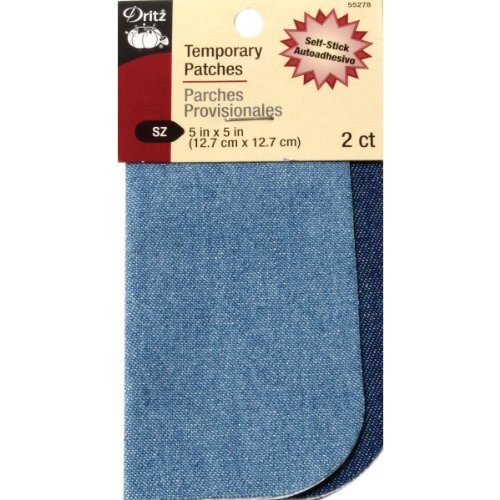 Self Stick Appliques (Dritz 5 by 5-Inch Self Stick Denim Patches, 2-Pack, Blue)