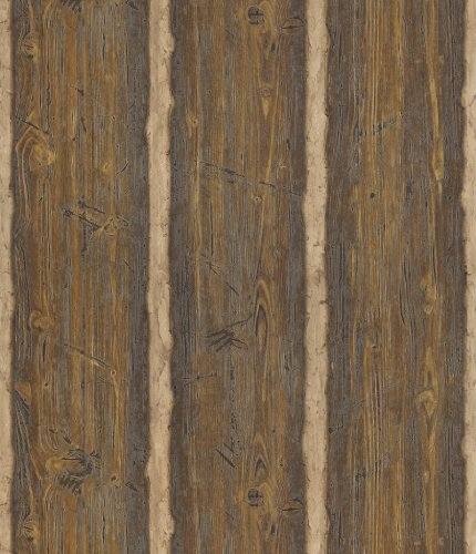 (Brewster 145-41382 Northwoods Lodge Dakota Brown Textured Rustic Wood Wallpaper)