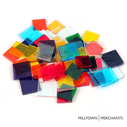 Milltown Merchants™ Transparent Blend Of Stained Glass Squares 3 lb - Translucent Stained Glass Cobbles - Broken Glass Chips for Stepping Stones and Crafts - Bright Color Coblets Variety Pack