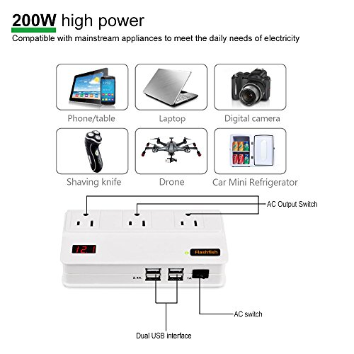 Flashfish 200W Car Power Inverter DC 12V to 110V AC DC Adapter with 4 USB Ports Charger Adapter Car Plug Converter with Switch and Currency LCD Screen-White by Flashfish (Image #3)