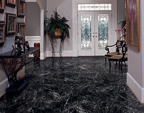 CHINA BLACK MARBLE 12x12'' POLISHED (WITH WHITE VEIN)