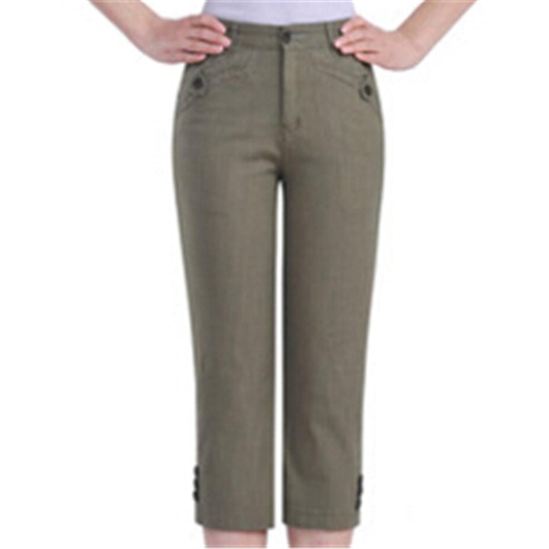 Topekada Women's Casual Cotton Candy Color Seven Pants