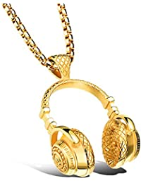 Rocked Headphones Necklace in Stainless Steel Gift for...