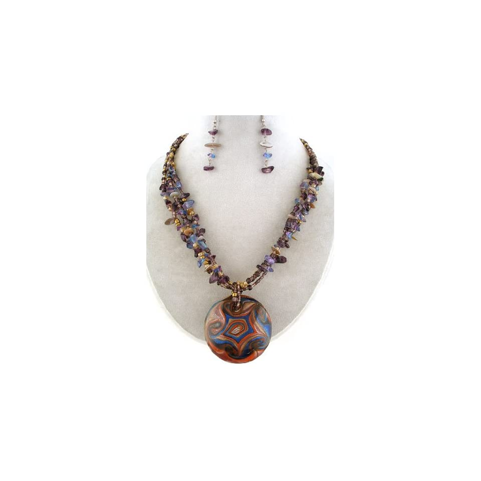 Fashion Jewelry ~ Purple Murano Glass Chipped Stones, Shell, Beads Layered Necklace and Earrings Set