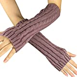 Women Men Mitten - SODIAL(R)Fashion Winter Women Men Gloves Unisex Arm Warmer Long Fingerless knit Mitten red bean paste