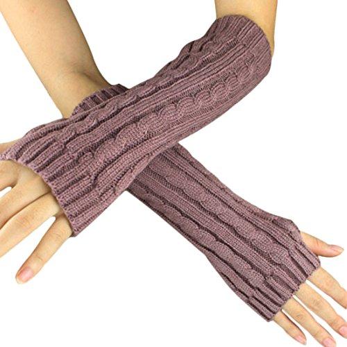 Women Men Mitten - SODIAL(R)Fashion Winter Women Men Gloves Unisex Arm Warmer Long Fingerless knit Mitten red bean paste