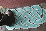 36'' x 15'' Rope Rug Doormat Rope Rug Tightly Knotted Handmade 100% Eco-Friendly Made in Alaska Green with Silver Trimmed Accent
