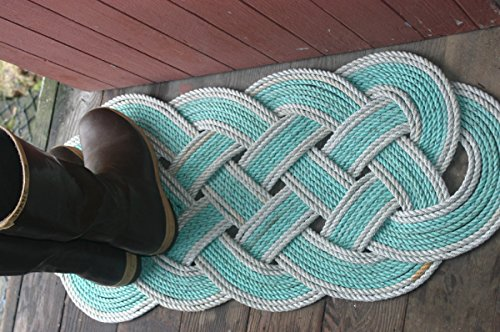"""36"""" x 15"""" Rope Rug Doormat Rope Rug Tightly Knotted Handmade 100% Eco-Friendly Made in Alaska Green with Silver Trimmed Accent"""