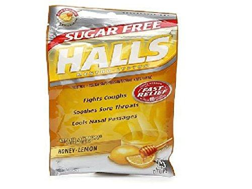 Lyptus Drops Mentho Honey Lemon (Halls Sugar Free Mentho-Lyptus Cough Suppressant Drops, Honey-Lemon 25 ea(pack of 2))