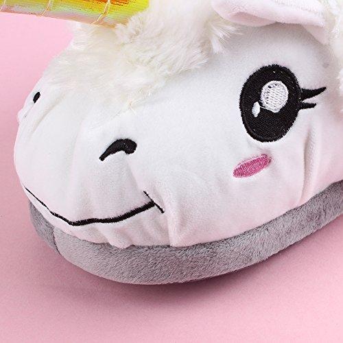 White peluche coton int Wuiyepo pantoufles paire Unicorn 1 Chaussures en qB14HwR