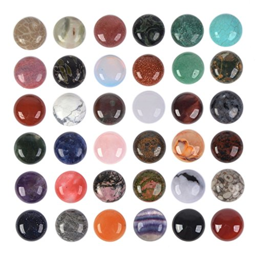 Wholesale Lot 24pcs Multi-Color 18mm Gemstone Round Cab Cabochon for Jewelry Making ()
