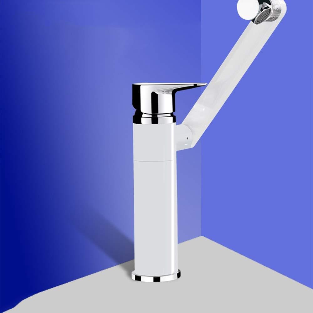 HYH 浴室盆地お湯と水の混合シングルホール蛇口黒銅浴室盆地回転浴室の蛇口 美しい人生 (Color : Short White) B07QTZT2JP Short White