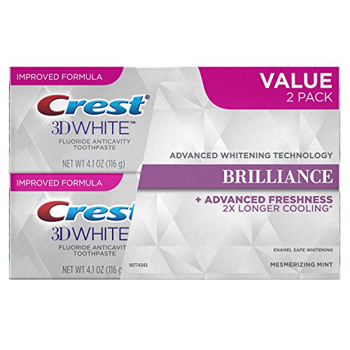 Crest 3D White Brilliance, Fluoride Anticavity Teeth Whitening Toothpaste, Mesmerizing Mint, 4.1oz. each, Twin Pack