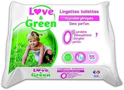 Love & Green Pack Love & Green Toallitas de baño sin perfume Hypo © Niques X55 (juego de 4 o 220 toallitas): Amazon.es: Belleza