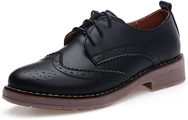 Womens Fashion British Brogues Lace up Round Toe Wingtip Low Top Shoes Oxfords