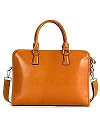 "Kattee Women's Genuine Leather Handbag Shoulder Bag 14"" Laptop Briefcase"