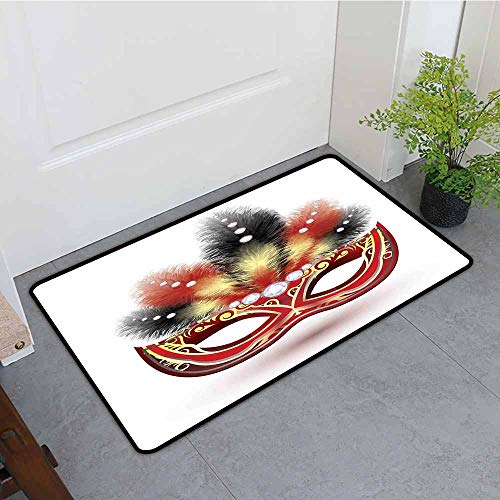 - ONECUTE Crystal Velvet Doormat,Masquerade Party Mask with Feathers and Diamond Figures Traditional Festive Design,Bathroom mat,31