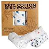 100% Cotton Muslin Swaddle Blankets with Cute Star Designs - Luxurious Soft, Light, Breathable & Versatile- Perfect for Swaddling, Nursing Cover, or Receiving Blanket for Your Newborn Baby- Set of 3