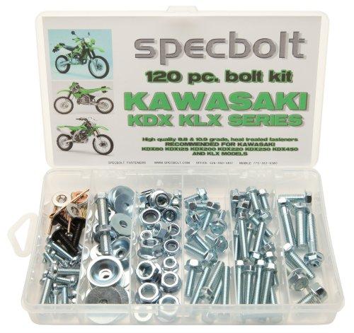 120pc Specbolt Kawasaki KDX two stroke Bolt Kit for Maintenance & Restoration of Dirtbike OEM Spec Fastener KDX80 KDX125 KDX175 KDX200 KDX220 KDX250 & KDX450 ()