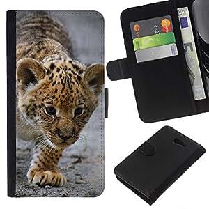 KingStore / Leather Etui en cuir / Sony Xperia M2 / Bebé Leopardo Cub Madre Cute Puppy