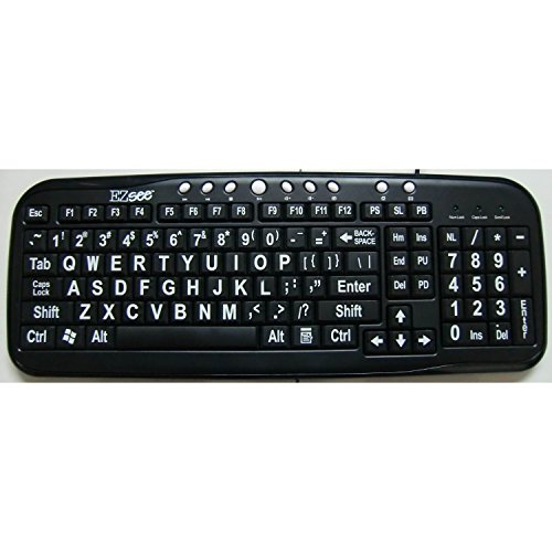 EnableMart Large Print Keyboard - Black Keys, White Print
