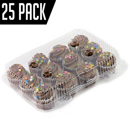 Chefible 12 Mini Cupcake Container, Cupcake Box- Set of 25