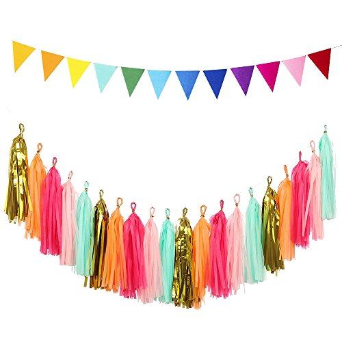 LOLOAJOY Tassel Tisues Garland Wave Sparkly Paper Pennant Banner Triangular Flags Banner for Birthday Wedding Party Colorful
