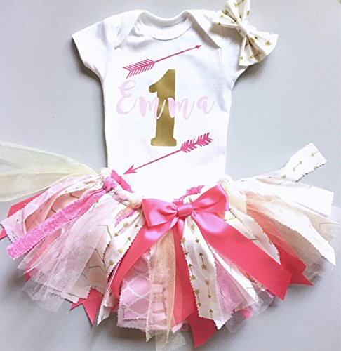 Pink and Gold Birthday outfit, Girl's Birthday Outfit, Fabric Tutu Skirt