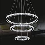 Chandelier Light,TOPMAX K9-cut Crystals Led Ring Chandelier natural light Celling Pendant Light with 3 Round Rings(30+50+70cm)