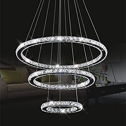 Amazon.com: Chandelier Light,TOPMAX K9-cut Crystals Led Ring ...