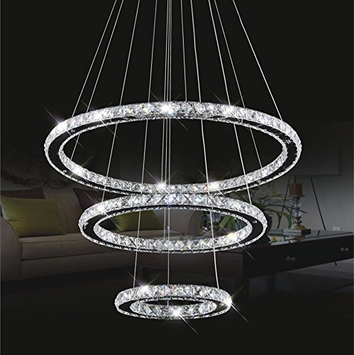 Luxury 3 Light (Chandelier Light,TOPMAX K9-cut Crystals Led Ring Chandelier natural light Celling Pendant Light with 3 Round Rings(30+50+70cm))